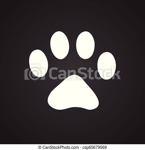 Foot print icon on black background for graphic and web design, Modern simple vector sign. Internet concept. Trendy symbol for website design web button or mobile app. - csp65679569