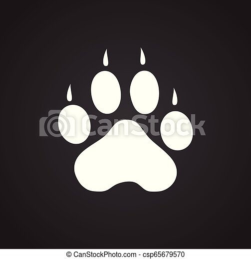 Foot print icon on black background for graphic and web design, Modern simple vector sign. Internet concept. Trendy symbol for website design web button or mobile app. - csp65679570