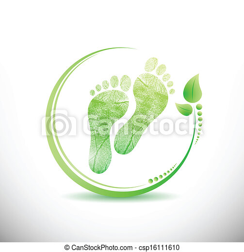 foot print with leaves all around illustration - csp16111610
