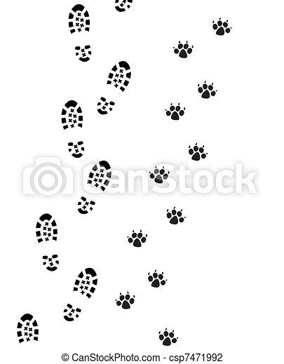 Vector foot prints of man and dog.
