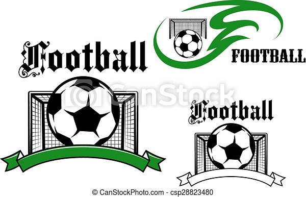Football And Soccer Game Symbols Football And Soccer Game Emblems Or Symbols With Soccer Balls Goals On The Background Canstock