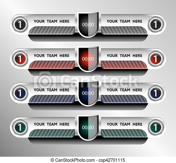 Football And Soccer Scoreboard Template On Grey Background