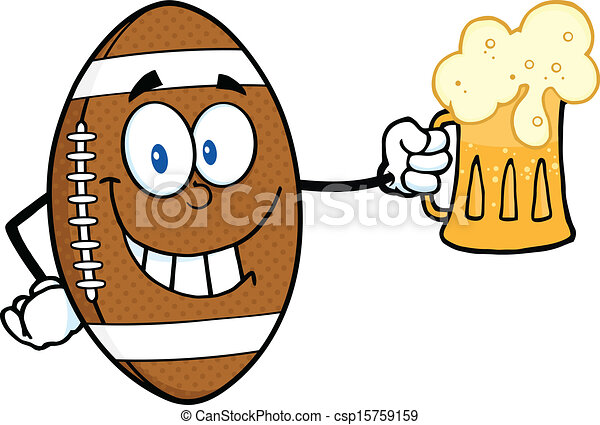 football ball holding a beer smiling american football ball rh canstockphoto com super bowl clip art free super bowl clipart humor