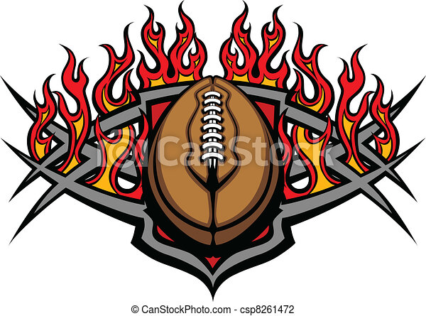 Football Ball Template with Flames  - csp8261472