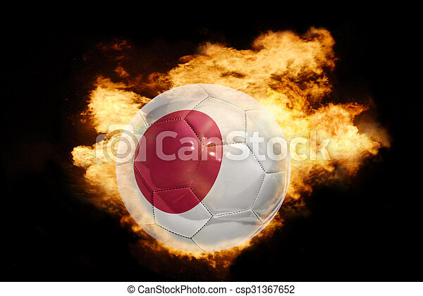 football ball with the flag of japan on fire - csp31367652
