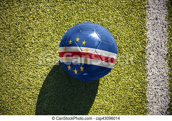 football ball with the national flag of cape verde lies on the field - csp43096014