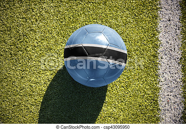 football ball with the national flag of botswana lies on the field - csp43095950