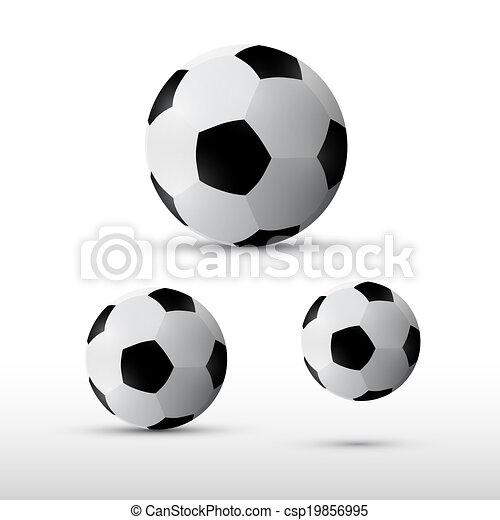 Football Balls Illustration Set Isolated on Grey Background - csp19856995