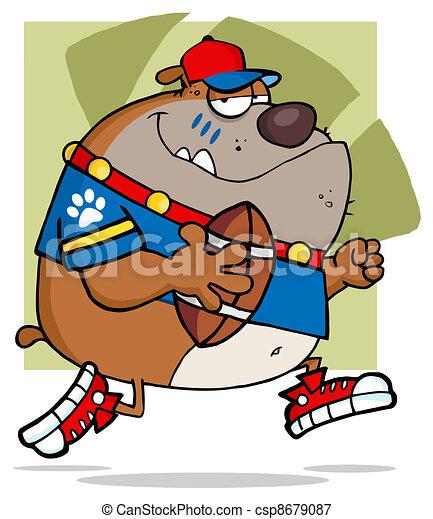 Football Brown Bulldog Running  - csp8679087