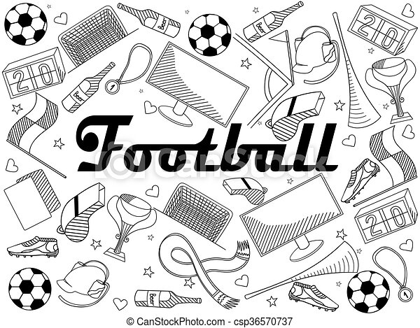 Football Coloring Book Vector Illustration. Football Coloring Book Line Art  Design Vector Illustration. Separate Objects. CanStock