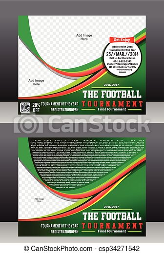 Football Cup Tournament Flyer Template Magazine Design Eps