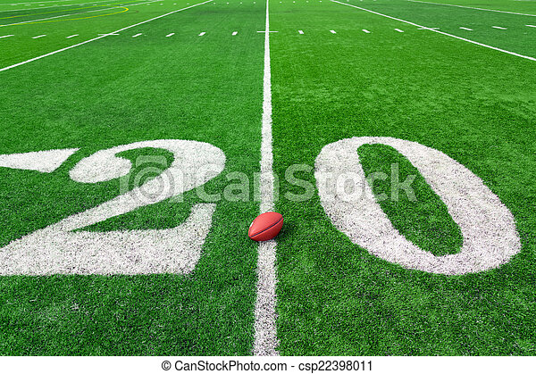 Football Field American Football Field With Ball On 20 Yards Line
