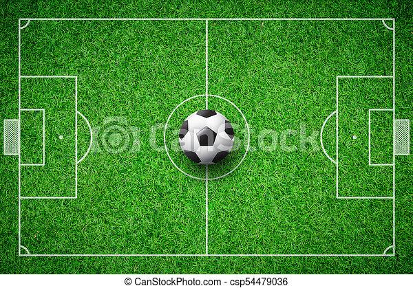 football field soccer ball green grass stadium background csp54479036 c10 green