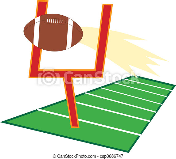 football going through a goalpost on a football field stock rh canstockphoto ie football touchdown clipart free football touchdown clipart