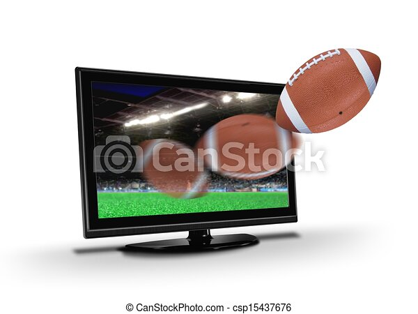 Football flying out from TV screen - csp15437676