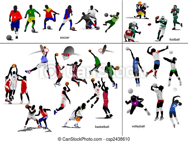 football, football, illustration, vecteur, jeux, volleyball., basket-ball, ball. - csp2438610