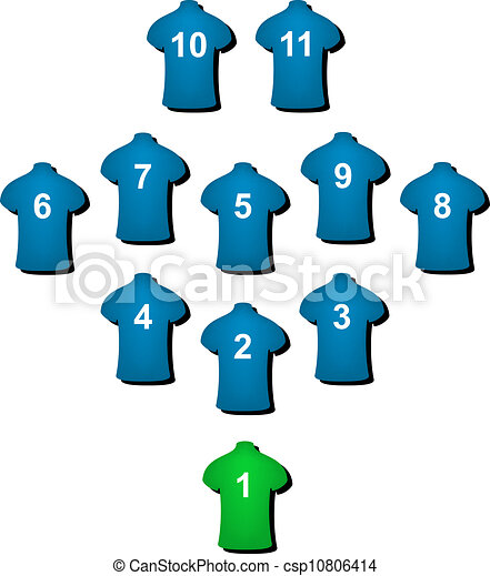 football formation in blue design with green goalkeeper on white