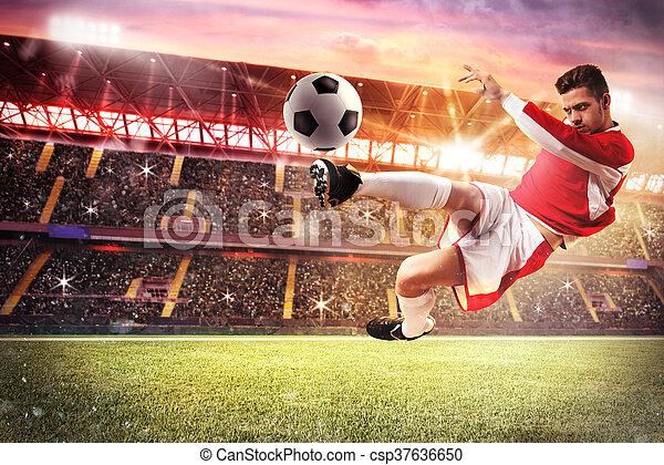 Football game at the stadium - csp37636650