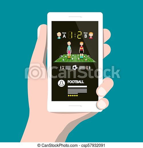 Football Game on Cellphone. Vector Soccer App on Smartphone. - csp57932091