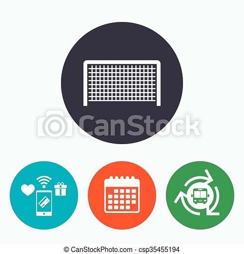 Football gate sign icon. Soccer Sport symbol. - csp35455194