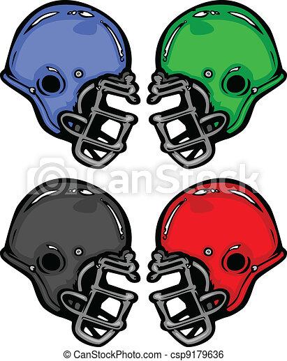 Football Helmets Cartoon Vector Illustration - csp9179636