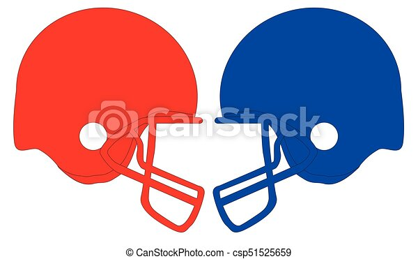 Football Helmets Red And Blue Outline Sketch Of A Pair Football Helmet In Red And Blue Set On A White Background