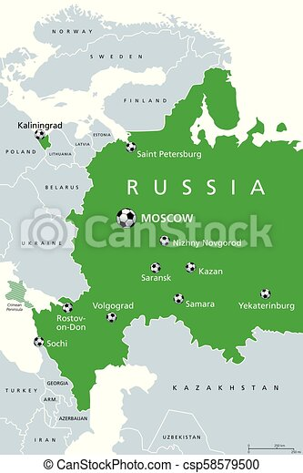 Football in Russia, 2018, map of venues on