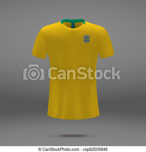 43cbafc4667 Football kit of brazil 2018, t-shirt template for soccer jersey ...