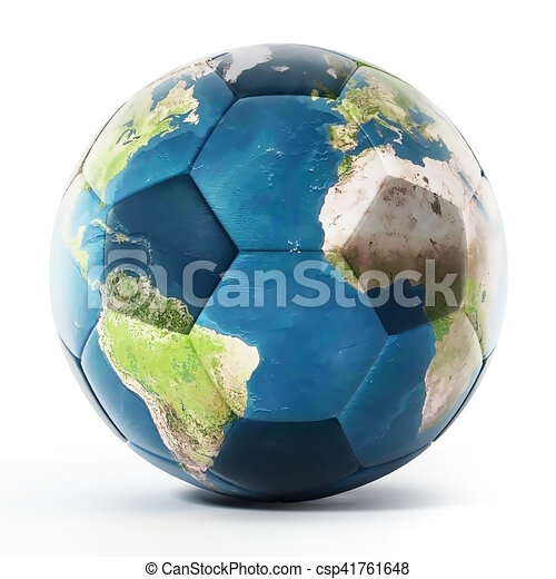 Football mapped with Earth texture. 3D illustration - csp41761648