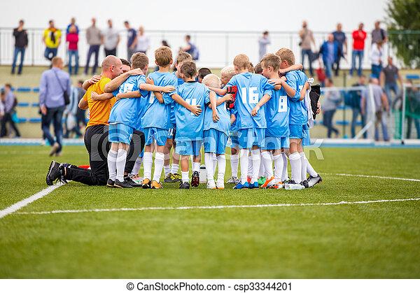 Football match for children. shout team, football soccer game - csp33344201