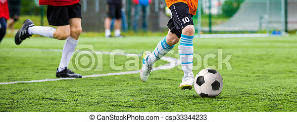 Football match for children. Training and football soccer tournament - csp33344233