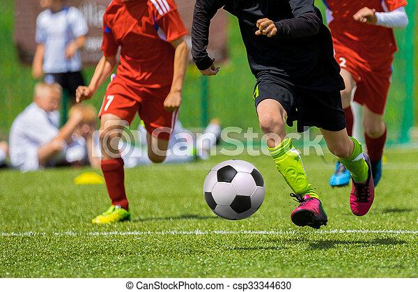 Football match for children. Training and football soccer tournament - csp33344630