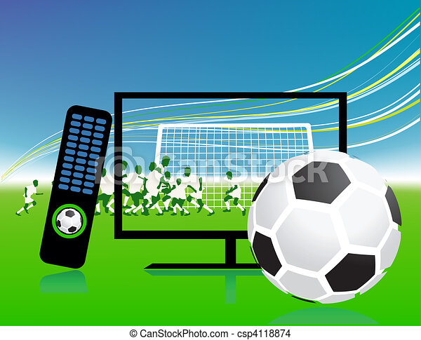 Football match  on tv sports channel - csp4118874
