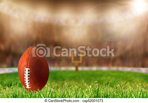 Football on Grass Ready For Field Goal or Kick Off - csp52001073