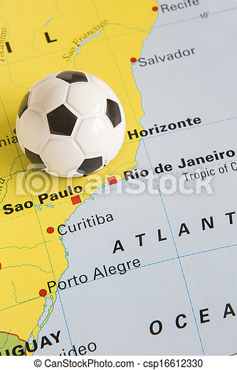Football on map of brazil to show 2014 rio fifa world cup stock football on map of brazil to show 2014 rio fifa world cup tourna csp16612330 gumiabroncs Image collections