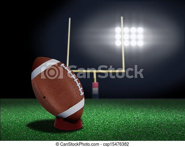 Football on tee ready to be kicked  - csp15476382