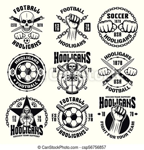 Football or soccer hooligans and bandits emblems - csp56756857