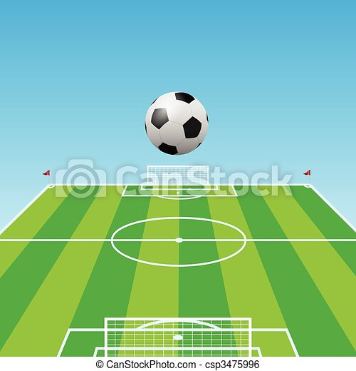Football Pitch Soccer Ball 3d Illustration Of A Football Field And Soccer Balls In Three Dimensions