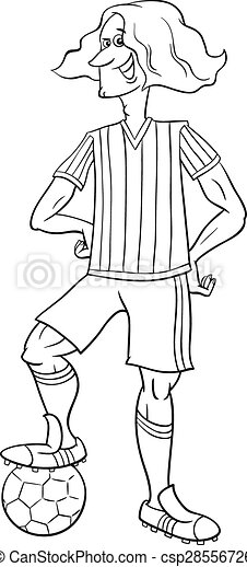 Football player coloring page. Black and white cartoon illustrations ...