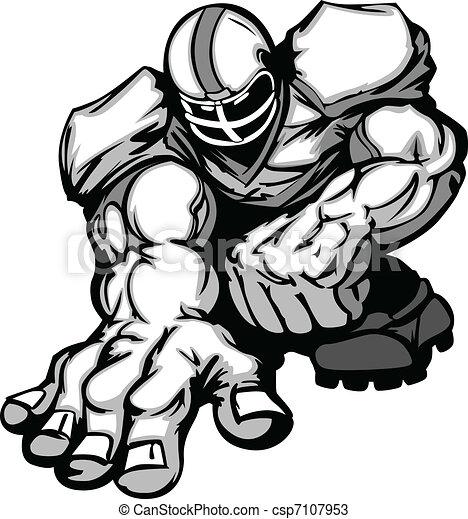 Football Player Lineman Cartoon - csp7107953