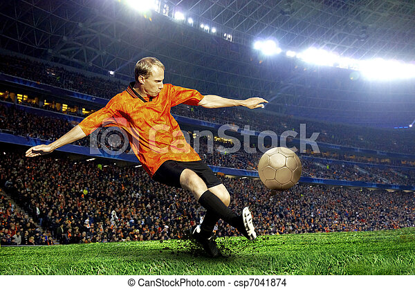 Football player on field of stadium - csp7041874