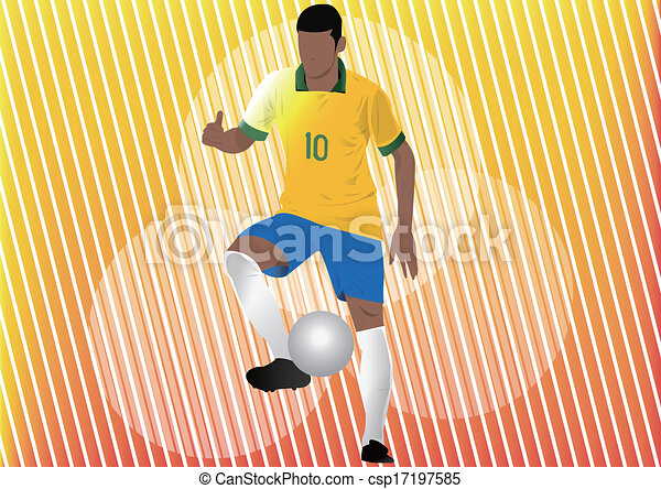 Football player soccer silhouette - csp17197585