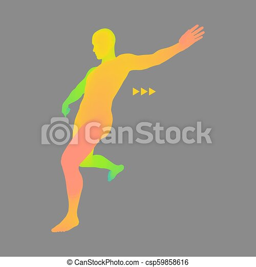 Football player  Sports concept  3D Model of Man  Human Body  Sport Symbol   Design Element  Vector Illustration