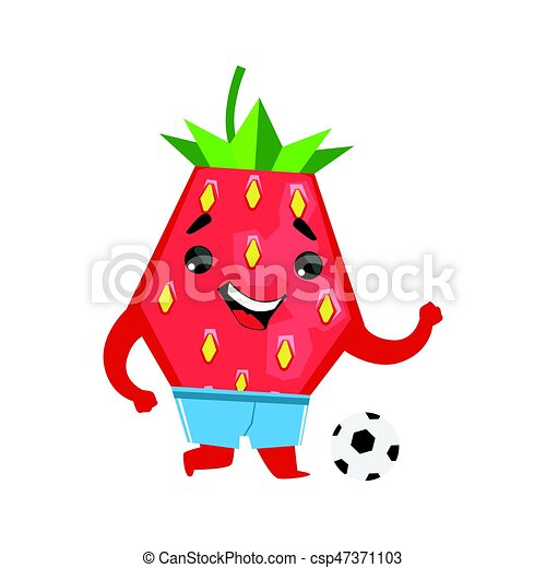 football player strawberry with a ball cute cartoon emoji character vector illustration