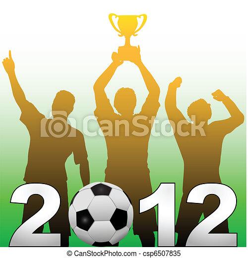 Football players celebrate 2012 season soccer victory - csp6507835