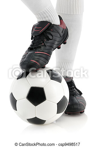 Football player's foot on the ball - csp9498517