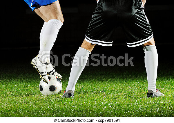 football players in action for the ball - csp7901591