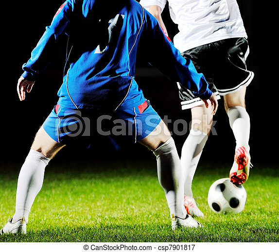 football players in action for the ball - csp7901817