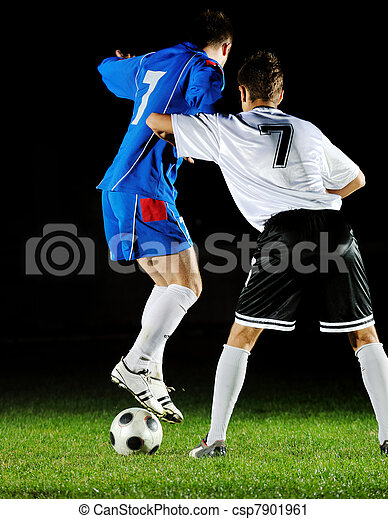football players in action for the ball - csp7901961