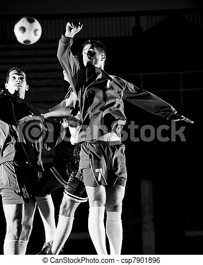 football players in action for the ball - csp7901896